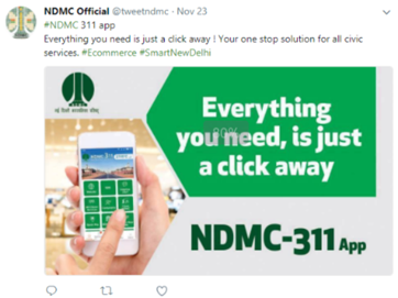 NDMC – 311 app was mentioned on twitter by New Delhi Municipal Council (NDMC)